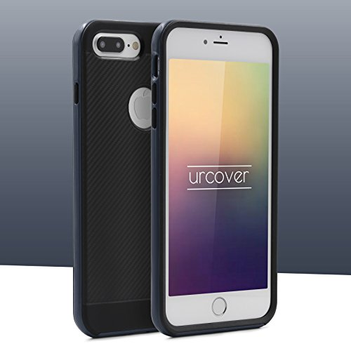 Urcover® Apple iPhone 7 Plus Schutz-Hülle in Rot [ Carbon Optik ] Hybrid 2 teiliges Case | TPU PC Cover Case robust Handyschutz | Smartphone Zubehör Tasche Dunkel Blau