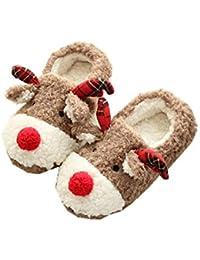 Womdee Zapatillas de Reno de Navidad para Mujer, Zapatillas de Peluche, para niños y