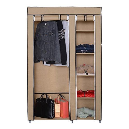 Mari Home - Crosby Beige Marco de Metal Armario de Tela para Closet Textil Plegable Organizador 175 x 110 x 45 cm