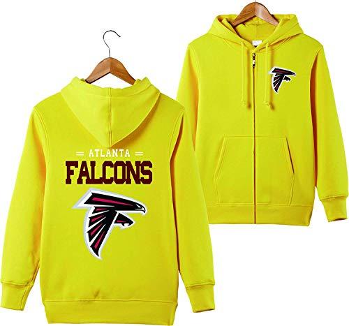 SZRXKJ Männer mit Kapuze Langarm Buchstaben drucken Atlanta Falcons Fußball Sport einfarbig Reißverschluss Hoodies (L,Yellow)
