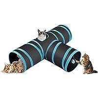 CO-Z Túnel Plegable para Gatos de 3 Vías con Bola Juguete para Gatos Conejos Cachorros Uso en Interiores o al Aire Libre (Azul)