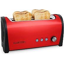 Klarstein Cambridge • Toaster • Doppel-Langschlitz-Toaster • 4-Scheiben-Toaster • Edelstahl • Brötchenaufsatz • 6-stufig einstellbarer Bräunungsgrad • Auftau-Funktion • Aufwärm-Funktion • rot