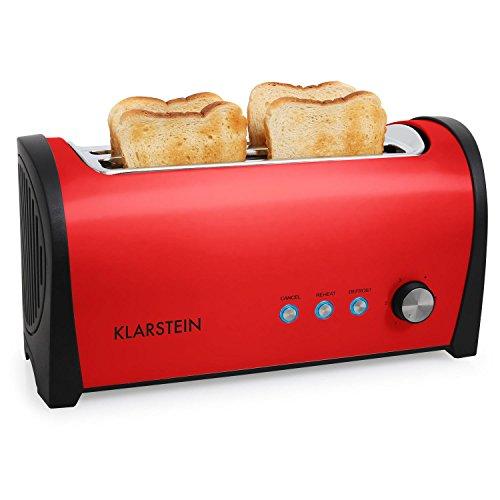 Klarstein Cambridge Toaster Doppel-Langschlitz-Toaster (für 4 Scheiben, mit Brötchenaufsatz, stufenlose Bräunungsgradeinstellung, 1400W) rot