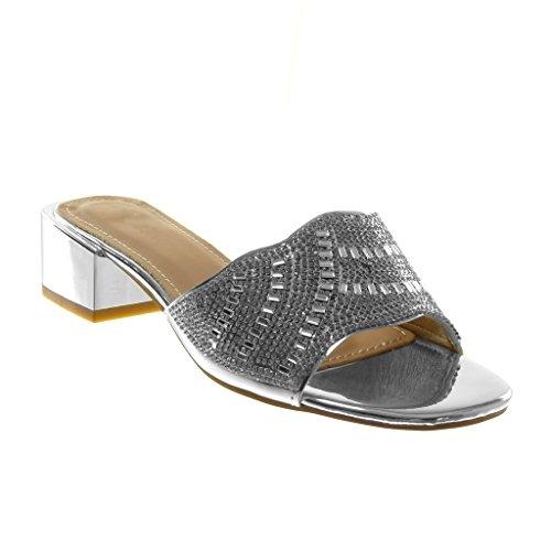 Angkorly - scarpe moda sandali mules slip-on donna strass gioielli lucide tacco a blocco alto 4 cm - argento jn1795 t 40