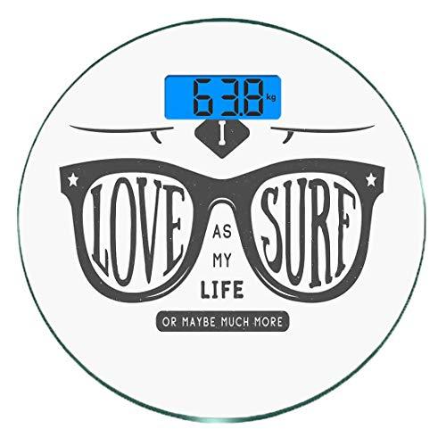 Digitale Präzisionswaage für das Körpergewicht Runde Zitat Ultra dünne ausgeglichenes Glas-Badezimmerwaage-genaue Gewichts-Maße,Ich liebe Surfen als mein Leben oder vielleicht viel mehr Text in Hipste