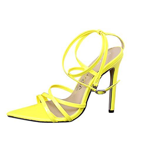 Deloito 2019 Sommer Damen Mode Einfarbig Spitze Sandaletten Hohe Dünne Fersen Sandalen Party Hochzeit Fischmaul Stilett Pantoletten Strand Schuhe (Gelb,39 EU)