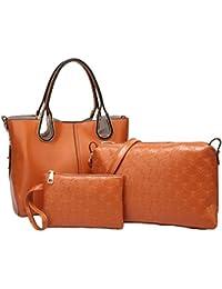 Vezela® 3 Pieces PU Leather Shoulder Bags Top Handle Cross Satchel Hand Bag - Brown Color Combo Set Handbags For...