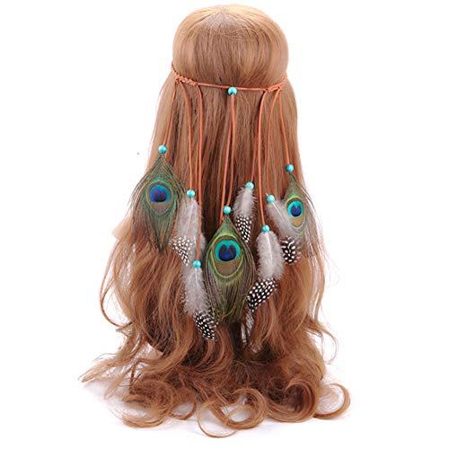 iKulilky Diadema Señoras Diadema Señoras Niñas Diademas Bohemia Sombreros Mujeres Pluma Accesorios para el cabello,Borlas Indio Hippie Tocado para Carnaval Boda - Blanco negro