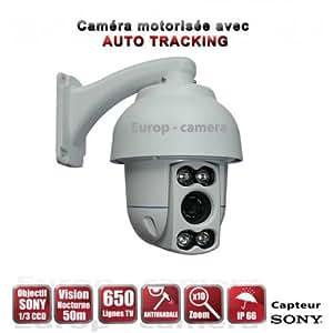 Caméra de vidéo surveillance motorisée AUTO TRACKING PTZ 360° IR 50M 650 TVL ZOOM X10 Extérieure / EC-PTZAT10X - vidéo surveillance