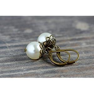 Klassische Vintage Ohrringe mit Perlen in creme einzeln oder mit passender Kette als Brautschmuck auch im Set