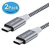 Câble Type C, ADLOKO [lot de 2] Câble USB-C vers USB-C 3.0 Câble 2M (6.6ft) tressé Double Nylon pour Appareils USB de type C, y compris le nouveau MacBook, Samsung Note 8 / S8, Samsung Note 8 / S8
