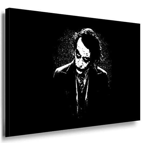 Joker ernst Leinwandbild / LaraArt Bilder / SchwarzWeiß + Kunstdruck XXL f03 Wandbild 100 x 70 cm