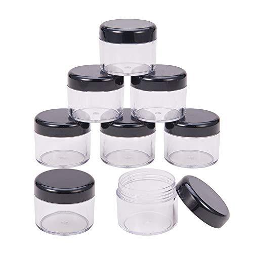 BENECREAT 24 Pack 20ml Boccale di Plastica Trasparente Contenitore a Prova di Fiaschetta in Plastica Trasparente con Coperchi Neri per Cosmetici, Balsamo per Labbra, Lucidalabbra