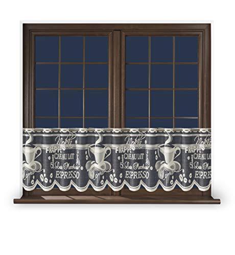 Promag Scheibengardine 50 cm Hoch Weiß Scheibenvorhang Durchsichtig Farbig Kurz Landhaus ohne Bohren Coffee Grau 100 cm Breit Stange Küche Vintage Modern