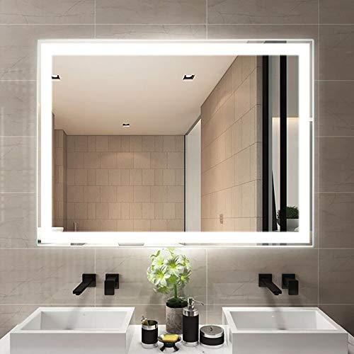 Espejo de baño Espejo de maquillaje LED montado en la pared Pantalla táctil inteligente Espejo plateado...