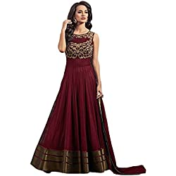 Anarkali Suit for Women Clothing Designer Party Wear Today Offers Low Price Sale Top Maroon Color Net Fabric Free Size Salwar Kameez Dress