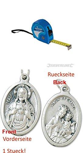 Preisvergleich Produktbild Rollmaßband Measure Mate , 10 m x 25 mm, Rollmeter, Maßband, Bandmaß, Messband mit einem Anhänger Herz Jesu 2,5cm