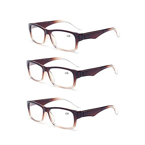 6335a807109 HHCC (3 packs) Read Optics Mens Womens Reading Glasses  Ultra Lightweight  Square