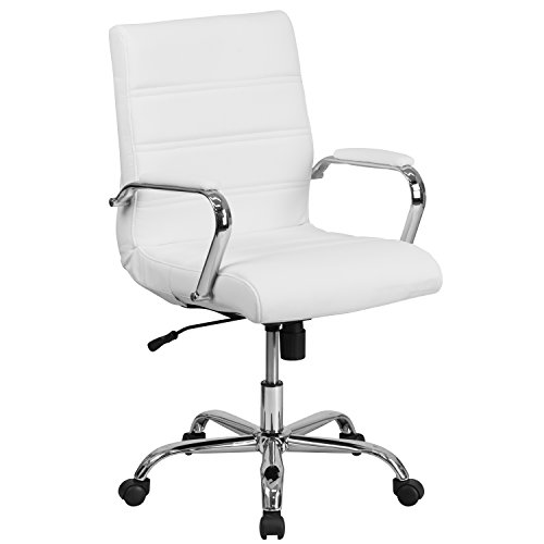 Flash Furniture Mid-Back White Leather Executive Swivel Office Chair with Chrome Base and Arms - GO-2286M-WH-GG