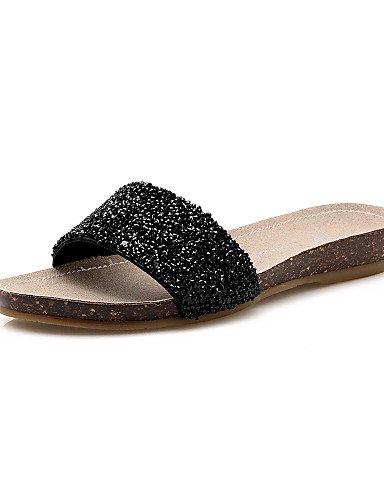 LFNLYX Chaussures Femme-Habillé-Noir / Argent-Talon Plat-Bout Arrondi / Bout Ouvert-Sandales-Microfibre Black
