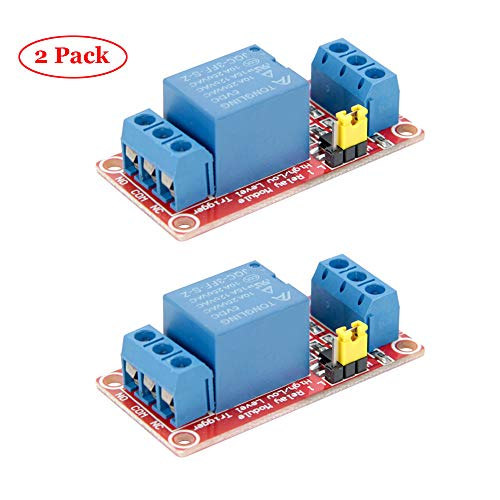 Jolicobo 2 Pieces User-Friendly 1-Way Relay Module Fault-tolerant Design High Low Level Relay Module for Arduino -