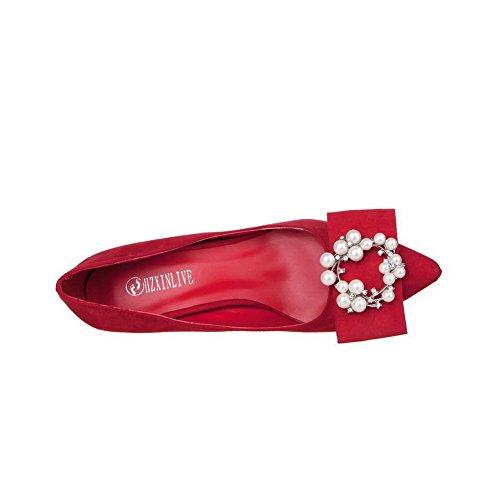 AalarDom Femme Suédé Couleur Unie Stylet Pointu Chaussures Légeres Rouge-Bijou
