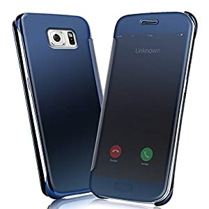 ERIT Mirror Smart View Case Flip Cover for Samsung Galaxy S7 Edge(Blue)