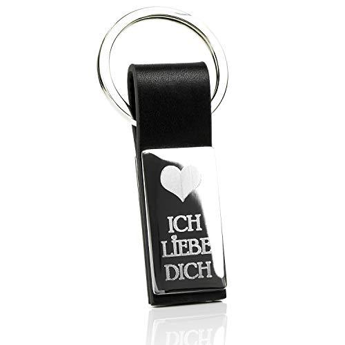 Mister Boncuk® Edelstahl Schlüsselanhänger mit Gravur aus Leder - Ich Liebe Dich (Diamant Gravur) - Stylisch Eleganter Damen und Herren Anhänger -