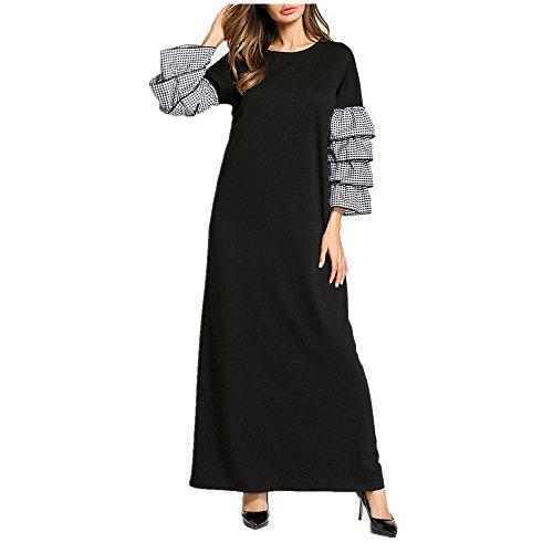 Maxi Kleid mit Langen ärmeln, Spitzen Muslimischen Lange Kleid, Lockere Atmungsaktive Übergröße Arabische Kleid,Schwarz,XXL (Typ Kostüm Kaftan)