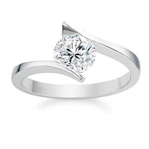 Diamond Manufacturers, Damen, Verlobungsring mit 0.40 Karat G/SI1 feinem und zertifiziertem Runddiamant in 18 Karat (750) Weißgold