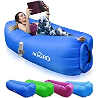 iRegro Inflatable lounger Waterproof inflatable Sofa with Storage Bag Air Sofa lounger Hammock with Headrest Inflatable Couch Fit for Travelling, Camping,Pool and Beach