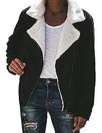 c4b7105db260 TianWlio Mäntel Frauen Herbst Winter Weihnachten Damen Faux Wildleder warme  Jacke Reißverschluss Vorne Mantel Outwear mit