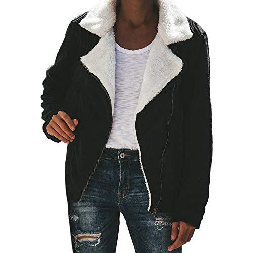 OIKAY Pullover Damen Tumblr warme Jacke Faux Wildleder Mäntel Womens Zipper Up Front Coat Outwear mit Taschen Sweatshirt Pullover(Schwarz,EU-34/S)