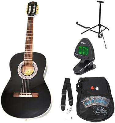 Guitarra clásica para niños completa con accesorios. Calidad Premium. Color negro. Tamaño 3/4.