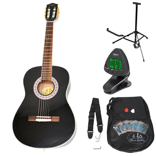 3/4 Akustik Gitarre Klassik Konzertgitarre Kindergitarre Schwarz +Zubehörset
