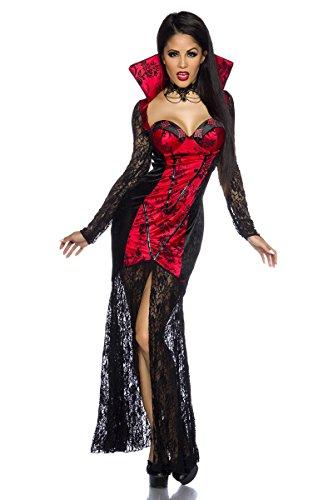 Langes Figurbetontes Halloween Kostüm `Vampir` aus Spitze A13569, Größe:34-38;Farbe:schwarz