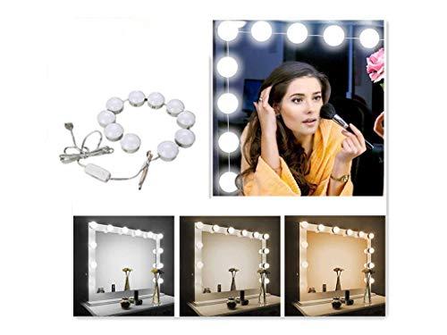 Alucy - Lámpara de Espejo para Espejo, 10 ledes, Kit de luz LED con USB Powered para Espejo, Maquillaje...