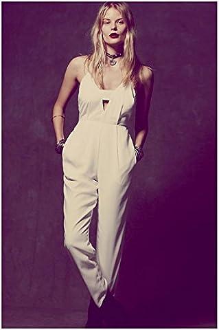 WJS-Damenbekleidung cool, weißen overall kleid hosenträger taille.