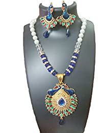 J S Imitation Jewellery Peacock Golden Necklace Set For Women