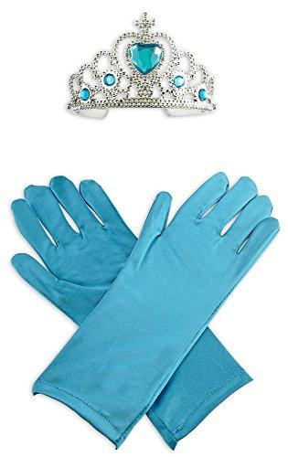 Eis Kostüm Prinzessin Tanz - Körner Festartikel Eisprinzessin Glamour Set - Kinder Handschuhe und Krone in Blau - Bezauberndes Zubehör zum Kostüm Königin oder Fee
