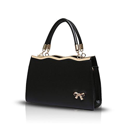 Sunas Sacchetto di spalla trasversale del sacchetto del messaggero del sacchetto di spalla delle nuove borse di bowknot della borsa delle signore nero