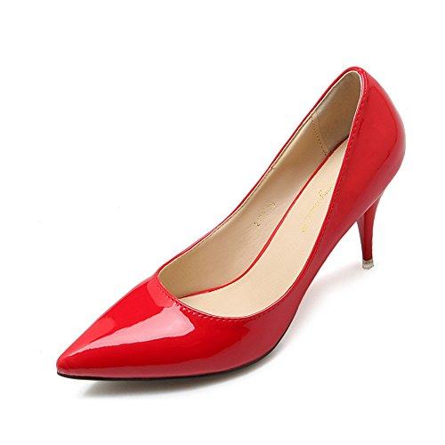 Damen Spitze Pumps Lackleder-Optik Büro Welle Stilettos Mit 7.5cm Absatz Rot