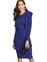 0b555dfae28bac DIDK Damen Rüschen Bodycon Kleider Partykleid Rundhals Figurbetontes Midi  Kleid mit Reißverschluss