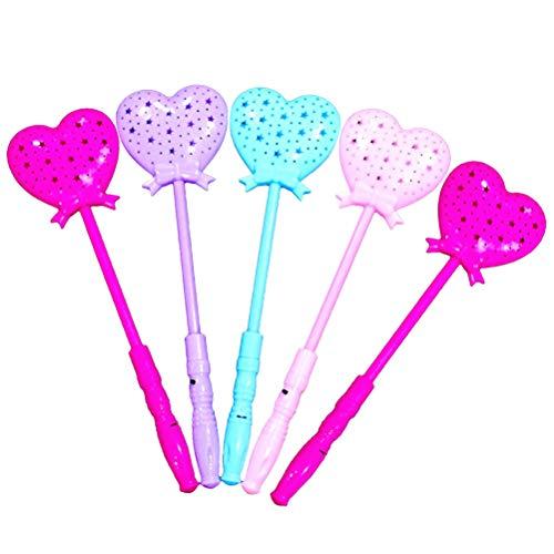 STOBOK Leuchtstäbe LED Leuchten Herz Form Zauberstäbe Feestab Flashing Sticks Spielzeug Kinder Party Gastgeschenk 5 Stück (Zufällige Farbe)