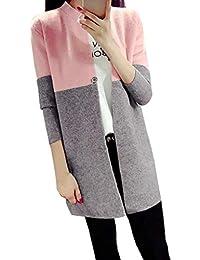 MEIbax Hiver Femmes Longues Vestes Automne Chaud Mince Dames Manteau  Outwear Top Cardigan Peluche Manteau Mangue fc258f0924d