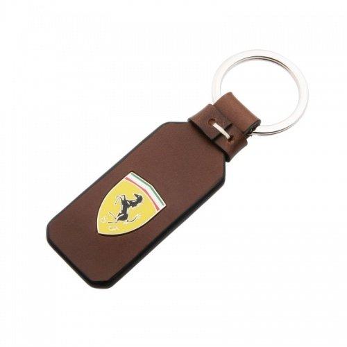 Ferrari Llavero Original de Piel Escudo de metal/marrón
