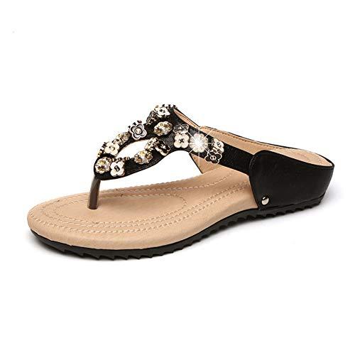Hzyshoe Frauen Flache Sandalen, Strass Sandalen, Flip Flop, Jeweled Sandalen,35 Jeweled Stiletto
