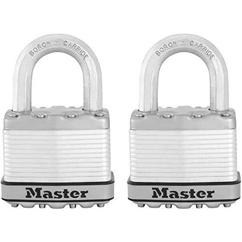 MASTER LOCK Hochsicherheits Vorhängeschloss [Schloss mit Schlüssel] [Laminiertem Stahl] [Wetterfest] [2er-Pack] M5EURT - Ideal für Lagerräume, Lagerschuppen, Garagen, Zäune