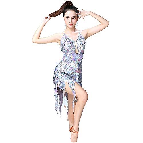 Frauen-Tanzröcke Frauen Dancewear Backless Sleeveless Kreis Münzen Pailletten Quasten Ballsaal Samba Tango Latin Dance Dress Wettbewerb Kostüme Minikleid ( Farbe : Silber , Größe : Einheitsgröße )