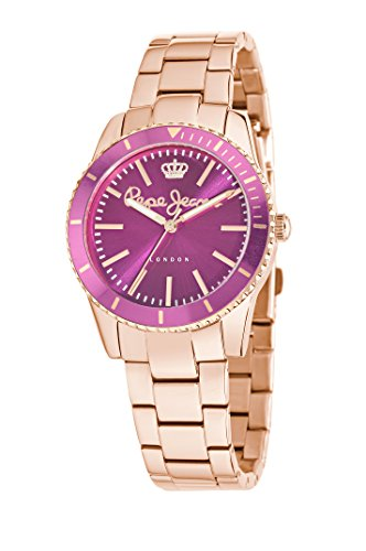 Pepe Jeans Charlie Women's Quartz Watch with Pink Dial Analogue Display and ROSE GOLD, R2353102509
